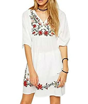 White Mexican Embroidered Vintage V Neck Womens Dress Tops Shirt Blouses ( White)