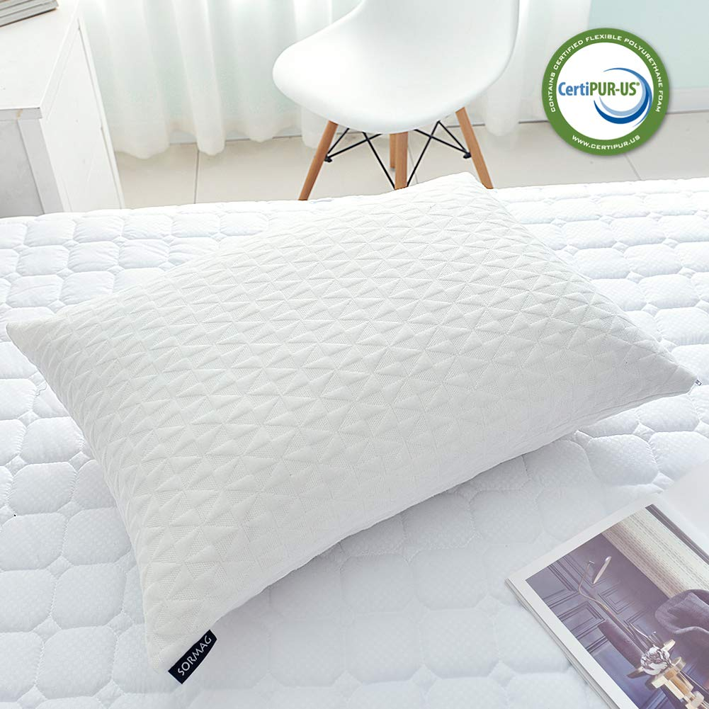 SORMAG Bed Pillows for Sleeping (Queen Size) Adjustable Loft Bed Pillows,Memory Foam Pillow for Washable Removable Cooling Bamboo Pillow