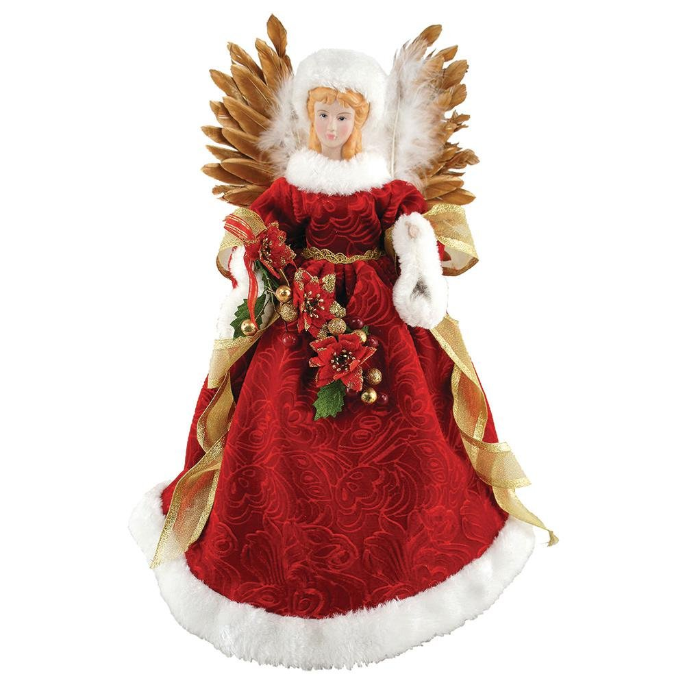 Santa's Workshop 16 in. Majestic Angel Tree Topper with Feathered Wings