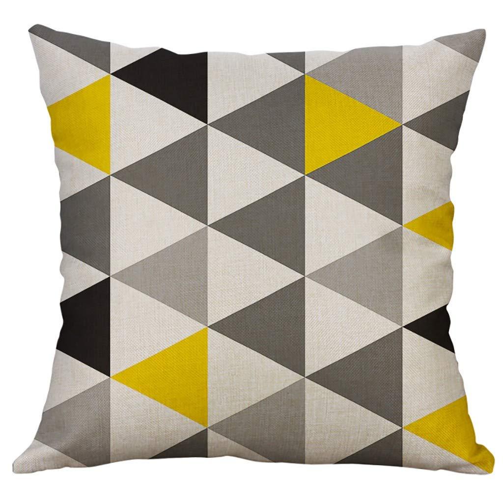 Hmeng-IT Cuscino per Cuscini Cuscino per Divano Home Cuscino Geometrico Cuscino Quadrato Cuscino in Lino Federe Federe 45X45cm