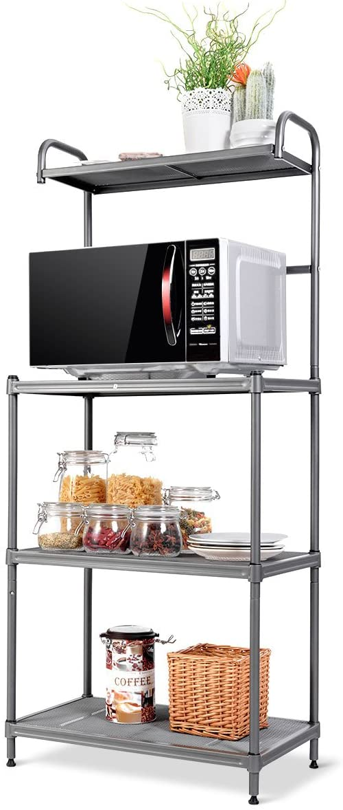 "Giantex 4-Tier Kitchen Microwave Storage Rack Oven Stand Strong Mesh Wire Metal Shelves Free Standing Baker's Rack Shelving Utility Unit, 23.5"" Lx14 Wx54 H (Silver) - Standing Baker's Racks"