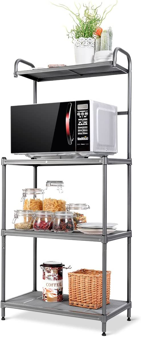 Giantex 4-Tier Kitchen Microwave Storage Rack Oven Stand Strong Mesh Wire Metal Shelves Free Standing Bakers Rack Shelving Utility Unit, 23.5