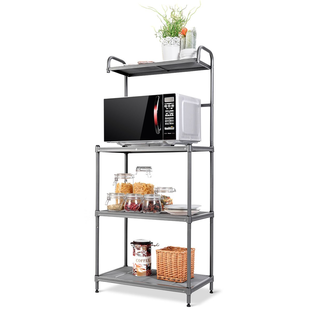 Giantex 4-Tier Kitchen Microwave Storage Rack Oven Stand Strong Mesh Wire Metal Shelves Free Standing Baker's Rack Shelving Utility Unit, 23.5'' Lx14 Wx54 H (Silver) by Giantex