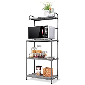 "Giantex 4-Tier Kitchen Microwave Storage Rack Oven Stand Strong Mesh Wire Metal Shelves Free Standing Baker's Rack Shelving Utility Unit, 23.5""Lx14""Wx54""H"