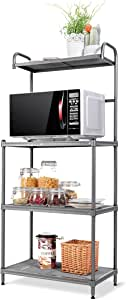 """Giantex 4-Tier Kitchen Microwave Storage Rack Oven Stand Strong Mesh Wire Metal Shelves Free Standing Baker's Rack Shelving Utility Unit, 23.5"""" Lx14 Wx54 H (Silver)"""