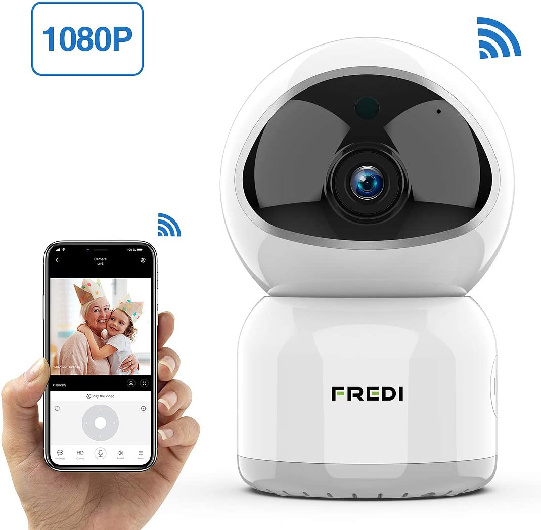 Baby Monitor, FREDI 1080P Wireless WiFi Pet Camera with Night Vision, Two-Way Audio, Motion Detection, IP Surveillance for Elder Nanny Monitor – Work with iOS Android PC