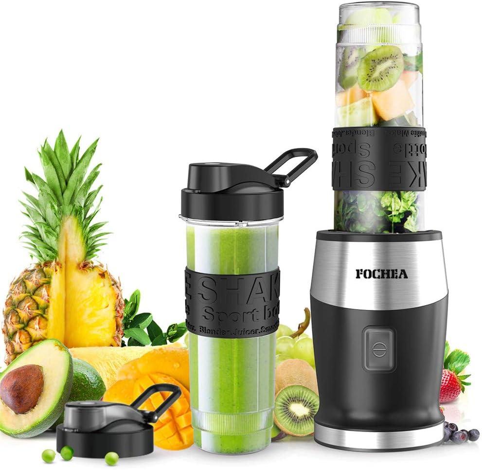 FOCHEA Batidora de Vaso para Smoothie, 500W Portátil Batidora Electrica con 2 * 570ml Botellas de Tritan sin BPA para Zumos de Frutas y Verduras