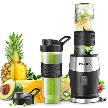 FOCHEA Batidora de Vaso para Smoothie, 500W Portátil Batidora Electrica con 2 * 570ml Botellas de Tritan sin BPA para Zumos de Frutas y Verduras: Amazon.es: ...