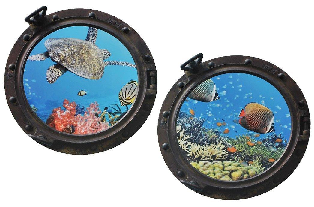 Fenster im Schiff Delfin Schildkr/öten Delphin Fisch XL Set: Wandtattoo // Sticker Unbekannt 4 TLG Wandsticker Aufkleber Flugzeug Wandaufkleber Badezimmer.. Bullauge