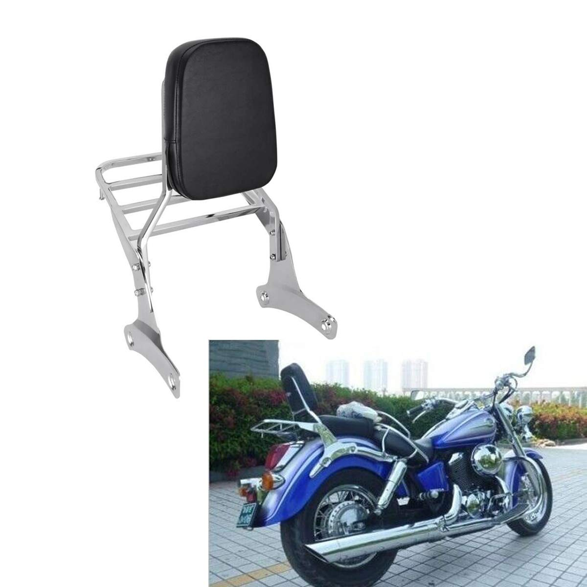 Mingting Detachable Chrome Sissy Bar Backrest Luggage Rack for Honda Shadow VT400//VT750 1998-2003