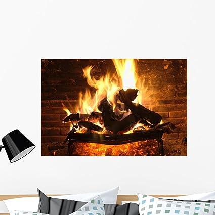 Amazon Com Wallmonkeys Fireplace And Amber Wall Mural Peel And