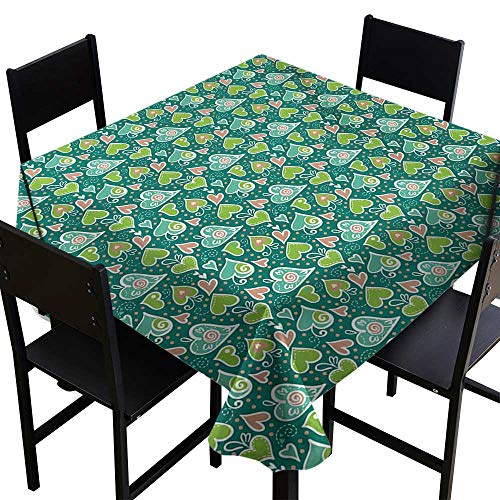 SKDSArts Outdoor Tablecloth Valentines,Abstract Hearts with Scroll Inspired Childish Design and Dots,Apple and Jade Green Peach,W50 x L50 Dinner Picnic Table Cloth