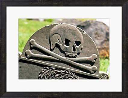 Great Art Now Skull And Crossbones Carved On Tombstone By Vintage PI Framed  Art Print Wall