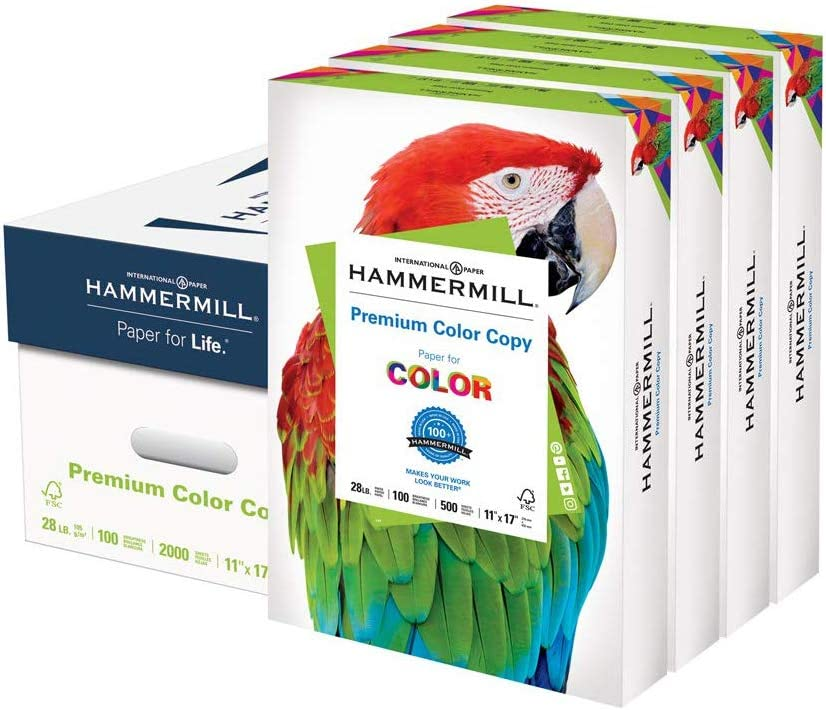 Hammermill Premium Color Copy 28lb Paper 11x17 100 bright, 4 Ream Case 2000 Sheets, Made in USA, 100 Bright, 102541C