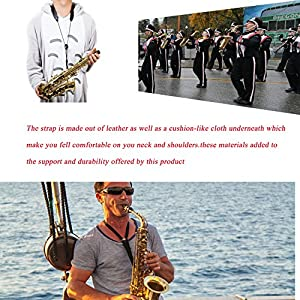 LLOP And Durable Soft Padded Saxophone Neck Strap with Extra Comfortable Design Ideal for Tenor and Alto Saxophones, Clarinets Oboes and English Horns Adjustable (A)