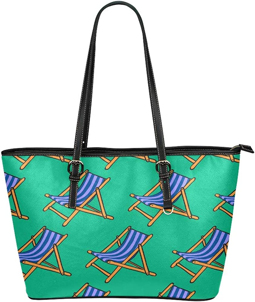 Kid Tote Bag Colorful Cartoon Cute Beach Chair Leather Hand Totes Bag Causal Handbags Zipped Shoulder Organizer For Lady Girls Womens Tote Bags Women