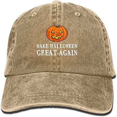 Vintage Halloween Pumpkin Girl Washed Denim Cotton Baseball Cap Sport Outdoor Adjustable Hats