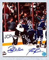 Felix Potvin & Ron Hextall Dual Signed Leafs Flyers Goalie Fight 8x10 Photo