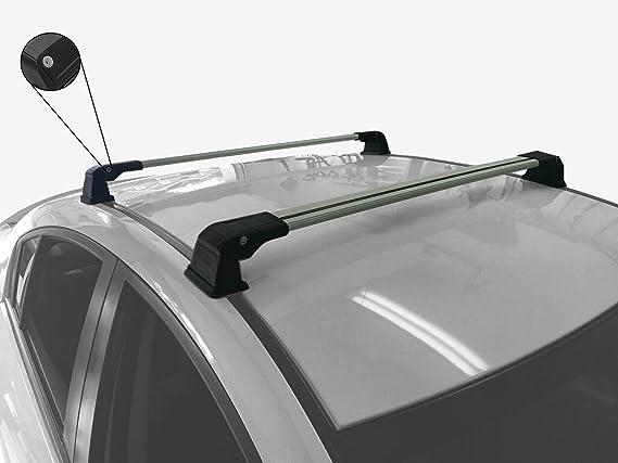Cross Bar Bamboli Lockable Roof Rack for Mazda Cx-3 2015 Up V3 Silver Aluminium
