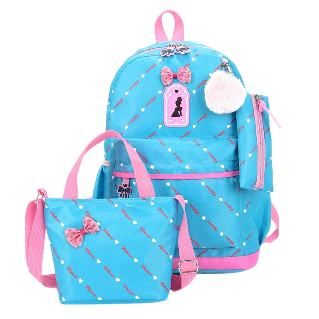 Women Three-Piece School Bag Print Backpack Bow Canvas Travel Backpack Tote Bag