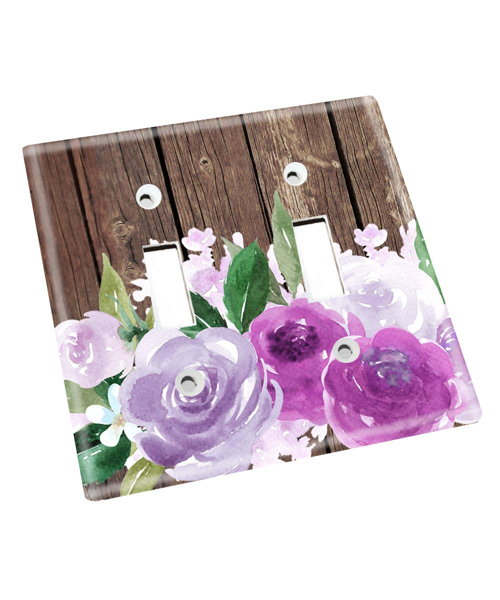 Purple Flowers Brown Rustic Nursery Bedroom Light Switch Cover LS0127 (Double Standard) by Toad and Lily