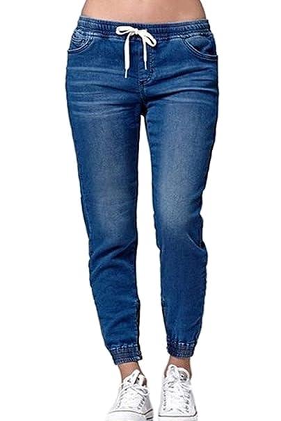 La Mujer Solid Lace Up Denim Bombachos Pantalones Pantalones ...