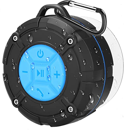 Bluetooth Shower Speaker, PEYOU IPX7 Waterproof Bluetooth Portable Wireless Outdoor Speaker with Suction Cup Carabiner Bass HD Sound Built in Mic Bluetooth Speaker for Party,Beach,Cycling,Hiking