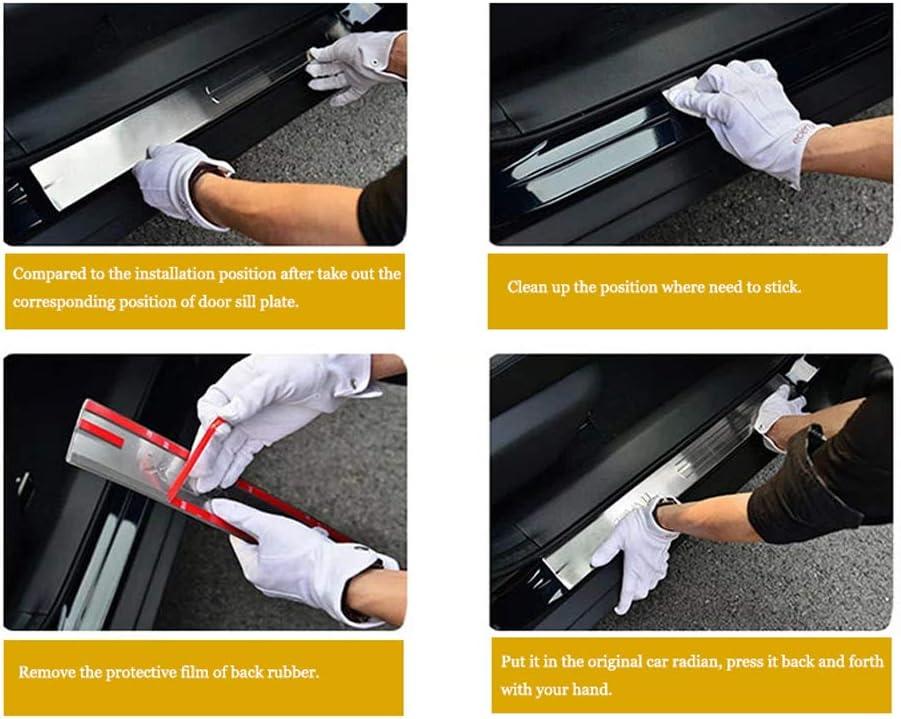 Protettore Battitacco Pedale Graffi Adesivo Decorativo PLNXDMS per Opel Corsa per Vauxhall 2012 2013 2014 Auto Davanzale Portiera con Logo Acciaio Inossidabile 4 Pezzi