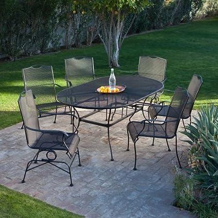 Amazon Com Woodard Stanton Wrought Iron Dining Set Seats 6