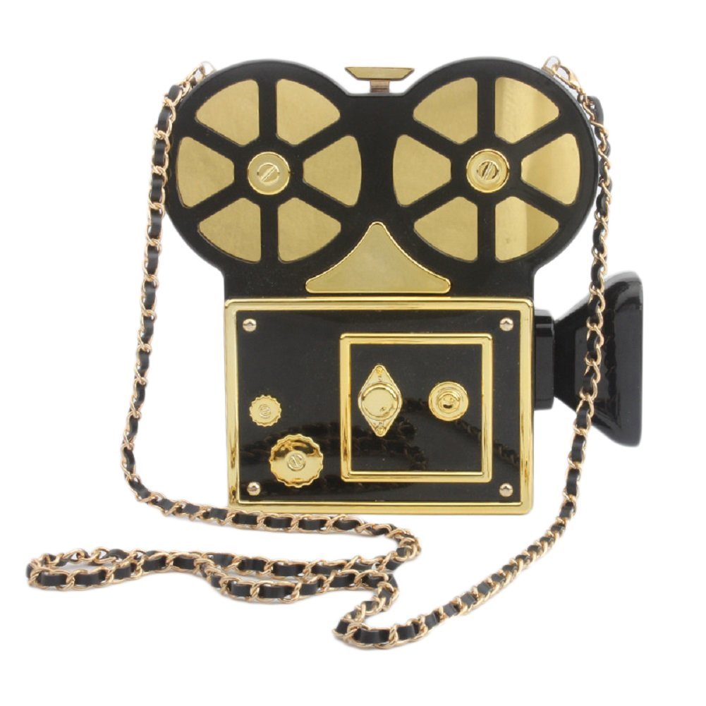 QZUnique Women's Acrylic Vintage Style Camera Shaped Evening Bag Purse Clutch Banquet Handbag