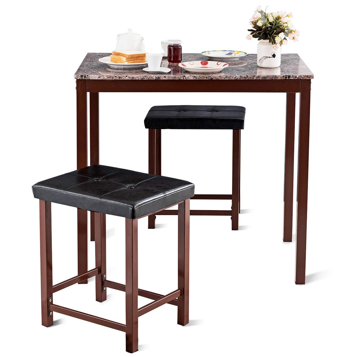 Amazon com giantex 3 pcs counter height dining set faux marble table 2 chairs kitchen bar furniture secondary color table chair sets