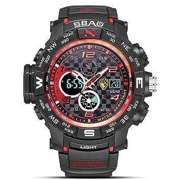 LW Reloj Deportivo para Hombre, Buceo, Buceo Luminoso, Multifunción, Reloj Electrónico, Reloj Militar, Hombres,Blackred: Amazon.es: Deportes y aire libre
