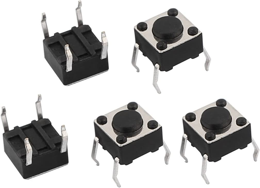 uxcell 5Pcs 6mmx6mmx4.3mm Panel PCB Momentary Tactile Tact Push Button Switch 4 Terminal DIP