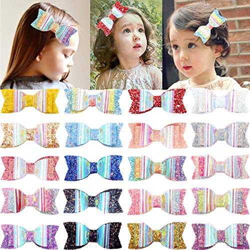 JOYOYO Sparkly Glitter Sequins Hair Bows Alligator Clips For Baby Girls Toddlers Teens Pack of 20