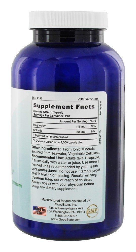 Good State - mg de magnesio iónico 115 ion-Mag. - 240 cápsulas vegetarianas: Amazon.es: Salud y cuidado personal