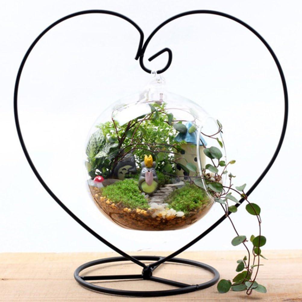 Vosarea Ornement en Forme de Coeur pr/ésentoir de Fer Support de Support de Rack de Support Suspendu pour Verre Suspendu Globe Air Plante Terrarium Witch Ball Noir