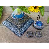 4Pcs - Orgone Pyramid, Pendant, with tensor ring, cubit coils and Cell phone buttons - EMF protection - Healing energy - Positive Energy