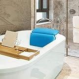 TANBURO Non-Slip Bath Pillow, Home Spa Headrest, Luxury Bathtub, Head Neck Support, Bathroom Cushion, Blue