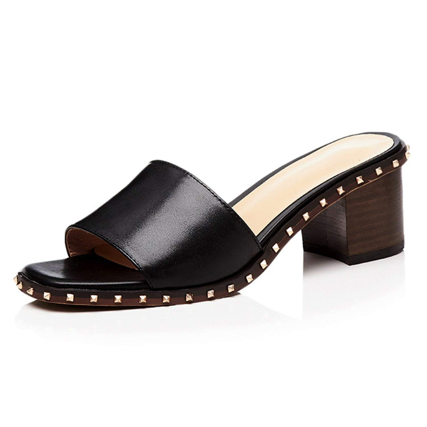 Black I Need-You Wood High Heels Women Slippers Open Toe Rivet Footwear Leather Female Mules shoes Fashion Slides shoes Woman Summer 2019