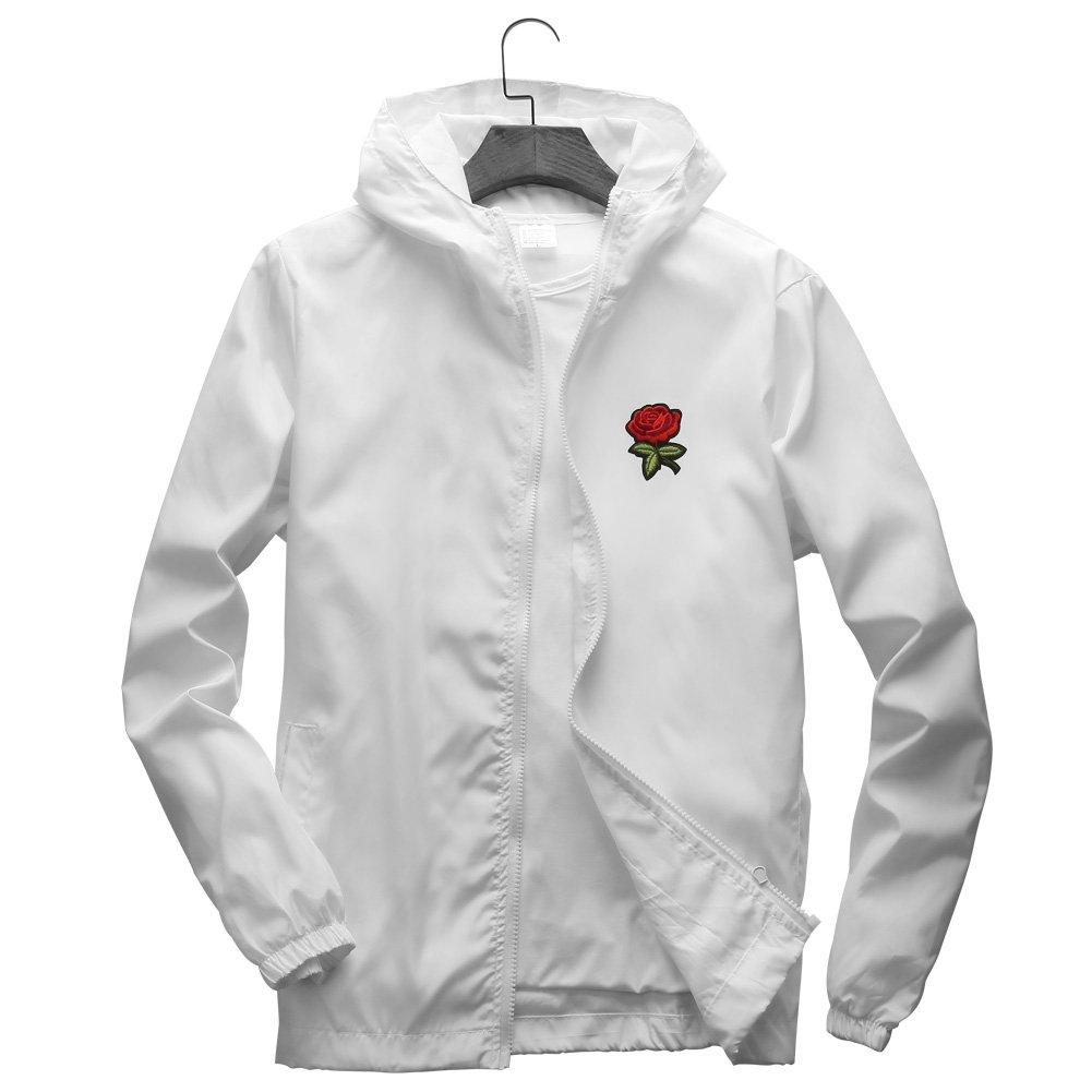 DAIKEN Rose Floral Jacket Windbreaker for Men Women Waterproof Windproof College Jackets, White, Large by DAIKEN