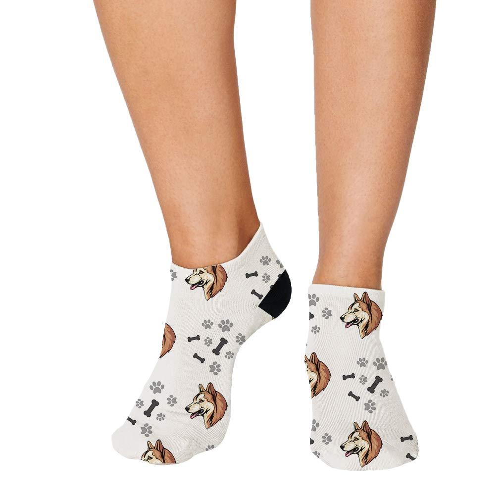 Greenland Dog Dog Breed Pattern #2 Men-Women Adult Ankle Socks Novelty Socks