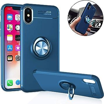 Estuche Magnético Teléfono Móvil Para iPhone XR, Anti-rayado Y Anti-huella Digital Con Anillo Giratorio De 360 Grados, Cubierta Protectora A Prueba De Golpes Y Ultra Delgada Para iPhone XR X Max XS: