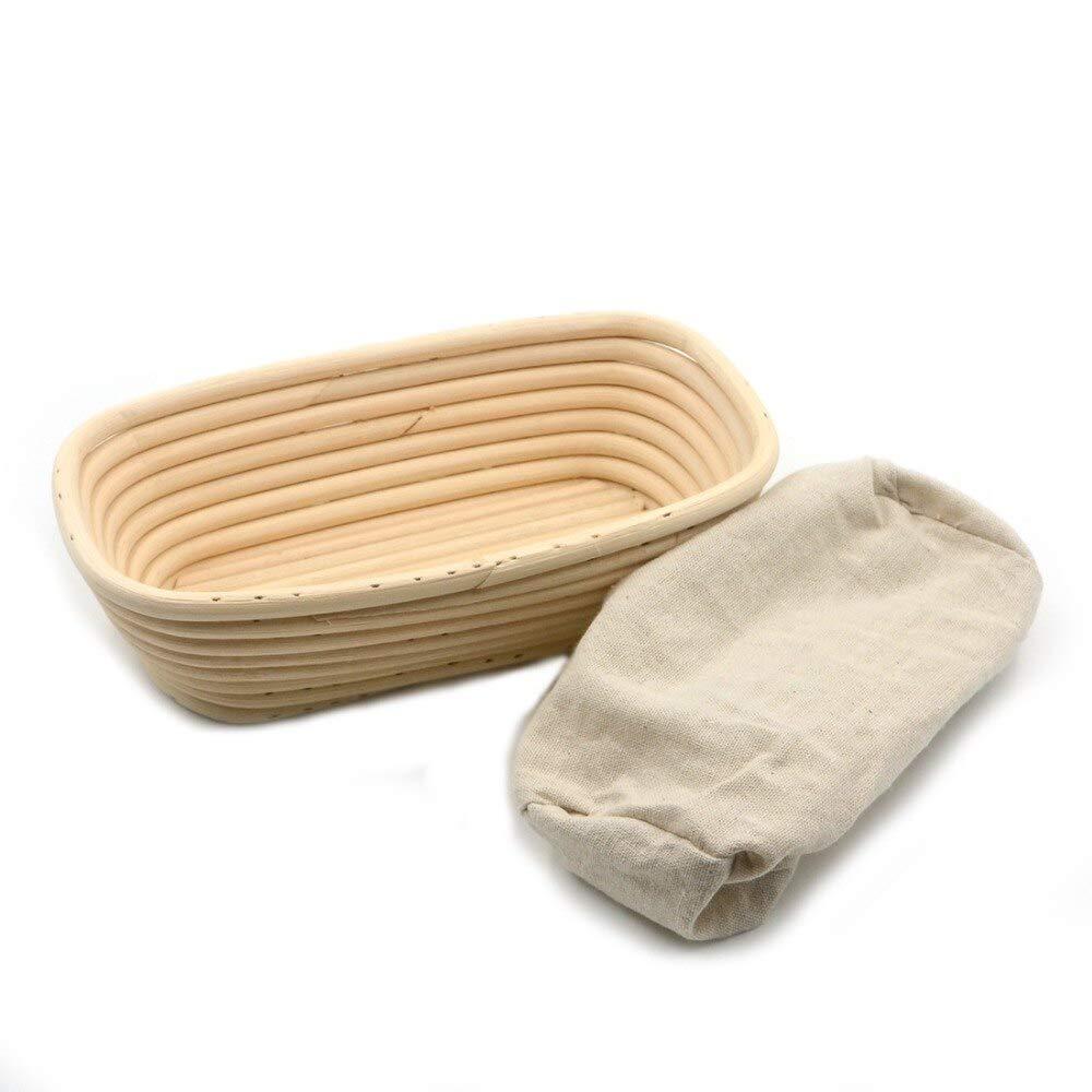 HOT- Baking & Pastry Tools - 1pc Rectangle 23x13x6cm Banneton Bortform Rattan Basket Bread Dough Proofing Handmade Multi Storage - by Tini - 1 PCs