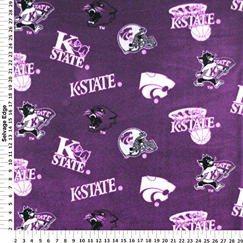 Kansas State University Wildcats Polyester Fleece Fabric, Purple - Sold By the