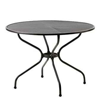 Perfekt Garden Table Round Metal MWH Ø105 Cm Expanded Metal Iron Grey Patio Table