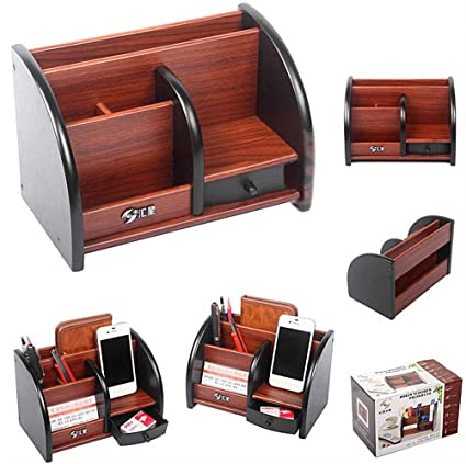 Sixsop Wood TV Remote Control Holder Organizer, Controller TV Guide, Mail, CD Organizer