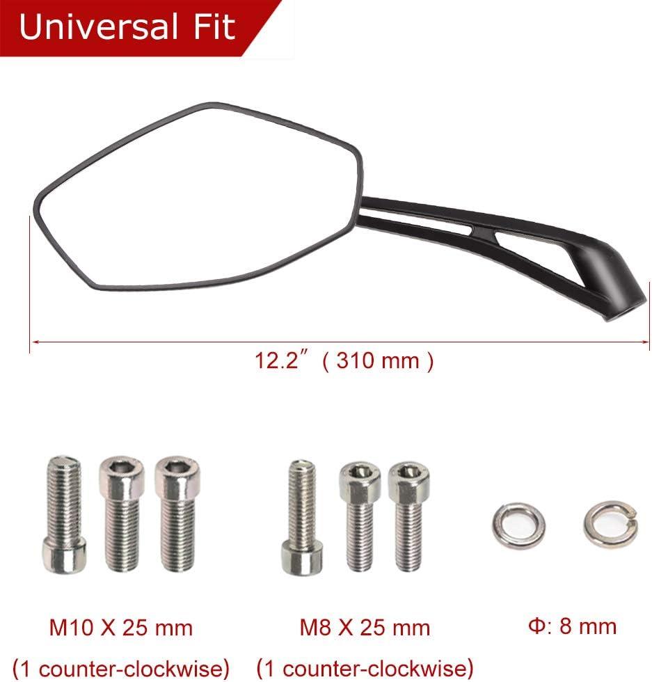 Evermotor Universal Jeu de r/étroviseurs moto noir miroir 2x filetage /à droite M10 1x filetage /à gauche 2x filetage /à droite M8 1x filetage /à gauche M10