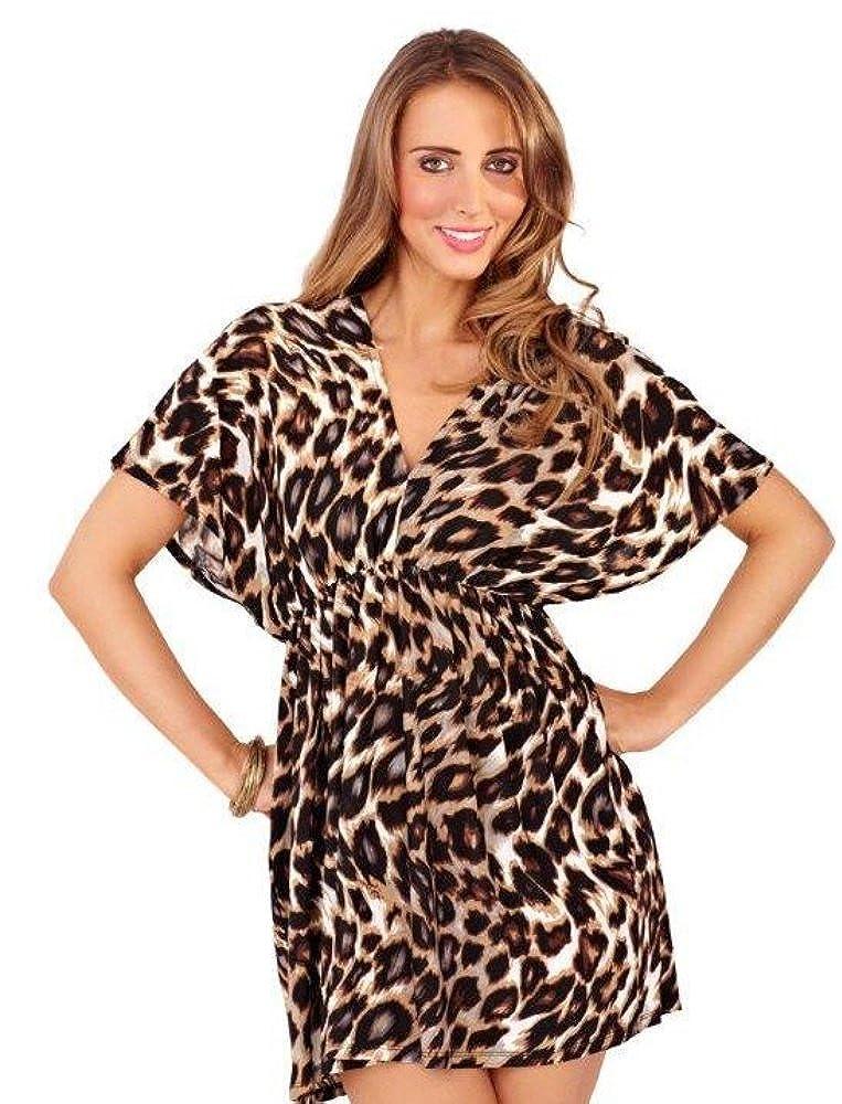 LD Outlet WOMENS KAFTAN BEACHWEAR COVER UP TUNIC TOP MINI DRESS LEOPARD PRINT GIRLS LADIES Small - XLarge