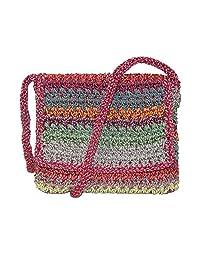 Dynamic Asia Women's Striped Crochet Flap Front Crossbody Handbag