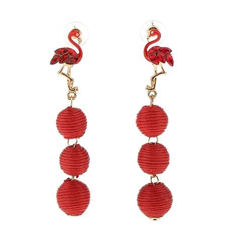 bcffc928108d MagiDeal Pendientes Largo Patrón Pájaro Flamenco con Tres Bolas Aretes de  Moda para Mujer Muchacha -